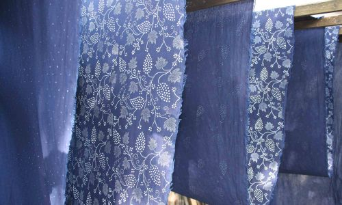 Needles4all. Hand Dyed Blue Print Fabrics